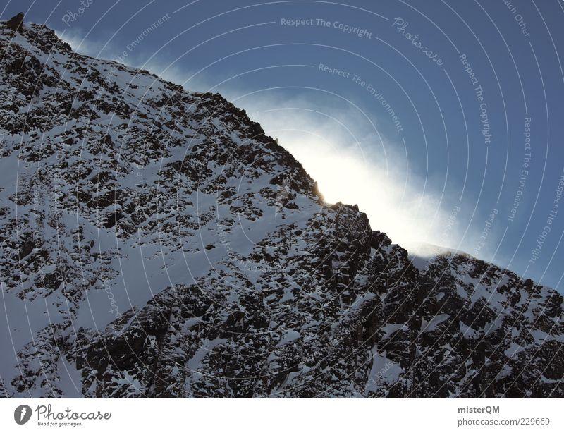 rock meets sky. Winter Umwelt Berge u. Gebirge Schnee Stein hoch Schönes Wetter Urelemente Gipfel Alpen Höhe Schneelandschaft Berghang steil Winterurlaub