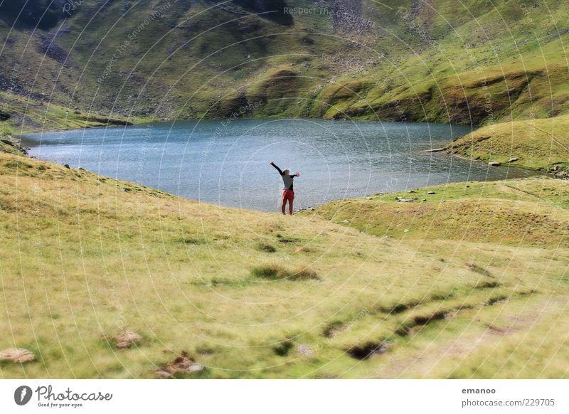 my lake Mensch Jugendliche Ferien & Urlaub & Reisen Sommer Freude ruhig Erwachsene Ferne Erholung Wiese Landschaft Freiheit Berge u. Gebirge Glück See Zufriedenheit