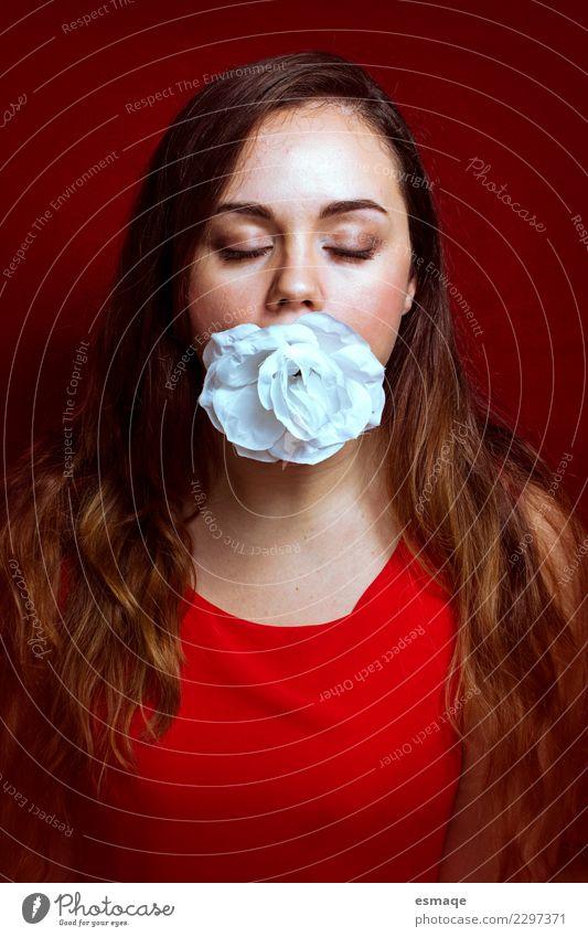 Mensch Jugendliche Junge Frau schön Blume rot Gesicht Wärme Lifestyle Gesundheit Liebe feminin Gesundheitswesen ästhetisch fantastisch Warmherzigkeit