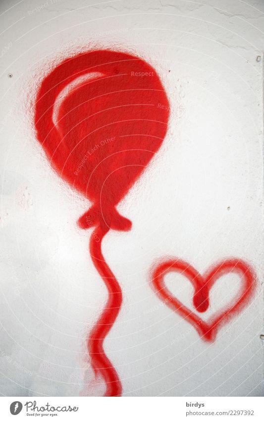 Leichtigkeit Zeichen Graffiti Herz Luftballon authentisch Fröhlichkeit positiv rot weiß Freude Glück Frühlingsgefühle Liebe Gefühle einzigartig formatfüllend