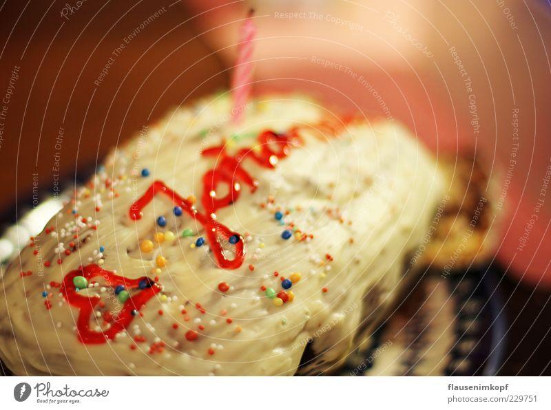 Geburtstagskuchen Freude Glück Feste & Feiern Herz Fröhlichkeit Dekoration & Verzierung süß Kerze Kitsch Lebensfreude Süßwaren lecker Kuchen Duft Schokolade