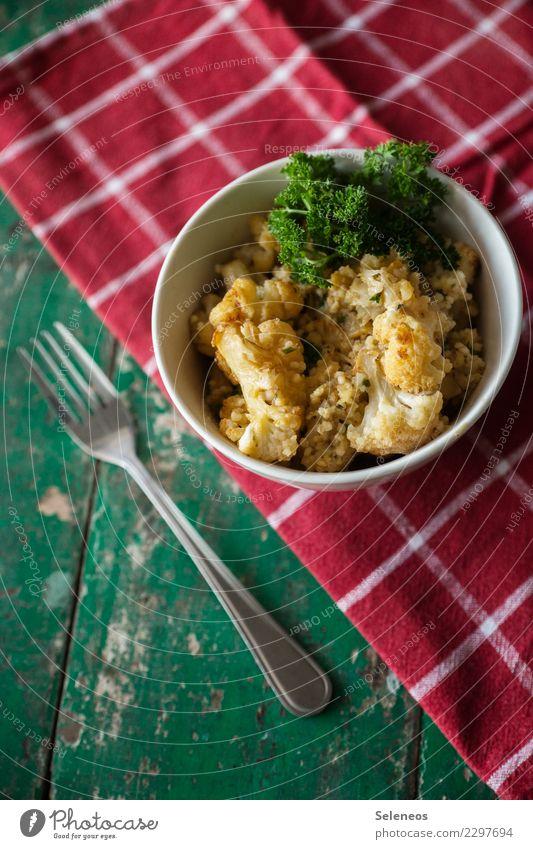 gerösteter Blumenkohl mit Hirse Essen Gesundheit Lebensmittel Ernährung frisch Kräuter & Gewürze lecker Gemüse Bioprodukte Schalen & Schüsseln Abendessen Diät