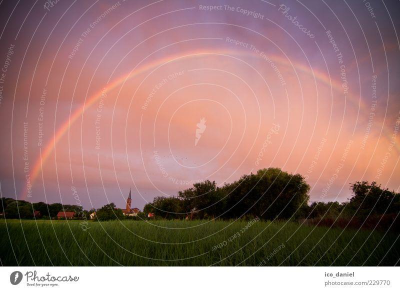Goldschatz? - Regenbogen Himmel Natur schön Sommer Wolken Ferne Wiese Umwelt Landschaft Gras Luft Feld außergewöhnlich Kirche Europa