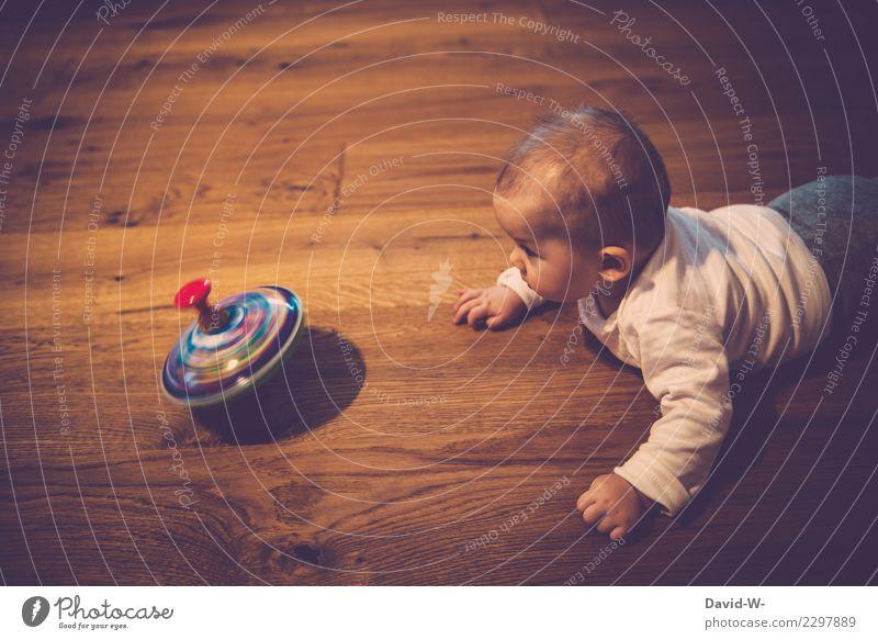 Kreisel Gesundheit Leben Zufriedenheit Sinnesorgane Erholung Spielen Kindererziehung Mensch Baby Kleinkind Kindheit 1 0-12 Monate Kunst beobachten Interesse