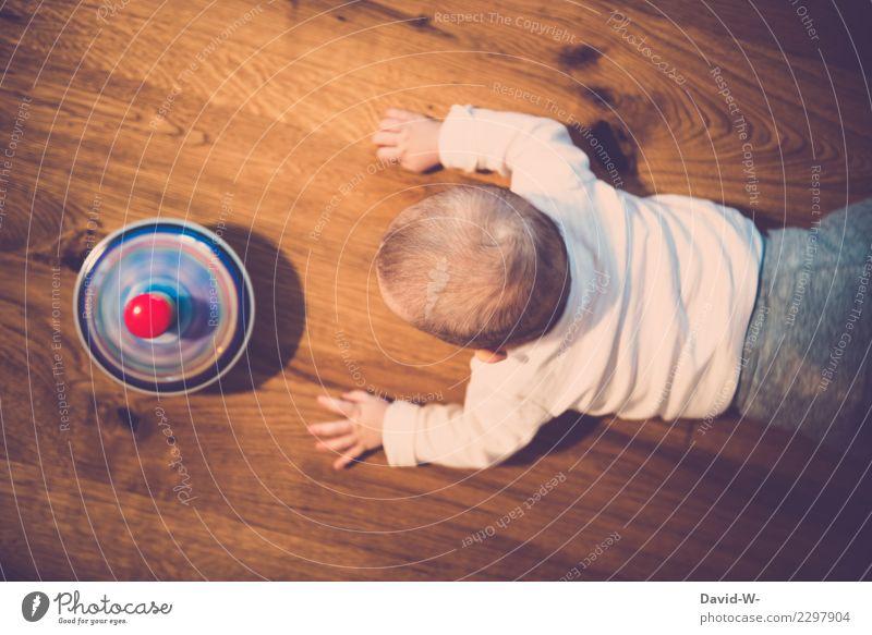 Faszination Spielen Kindererziehung Bildung Mensch maskulin feminin Baby Mädchen Junge Kindheit Leben 1 0-12 Monate Kunst beobachten Lebensfreude Kreisel drehen