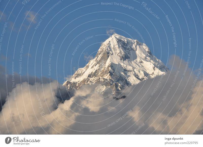 Annapurna South Ferne Freiheit Berge u. Gebirge Umwelt Natur Landschaft Wolken Klimawandel Felsen Gipfel Schneebedeckte Gipfel Gletscher blau weiß Sehnsucht