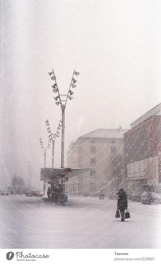 Silent Snow Mensch Frau Haus Erwachsene kalt Schnee Schneefall Fassade Straßenbeleuchtung Unwetter Bus Tüte Personenverkehr Schneesturm Öffentlicher Personennahverkehr Bushaltestelle