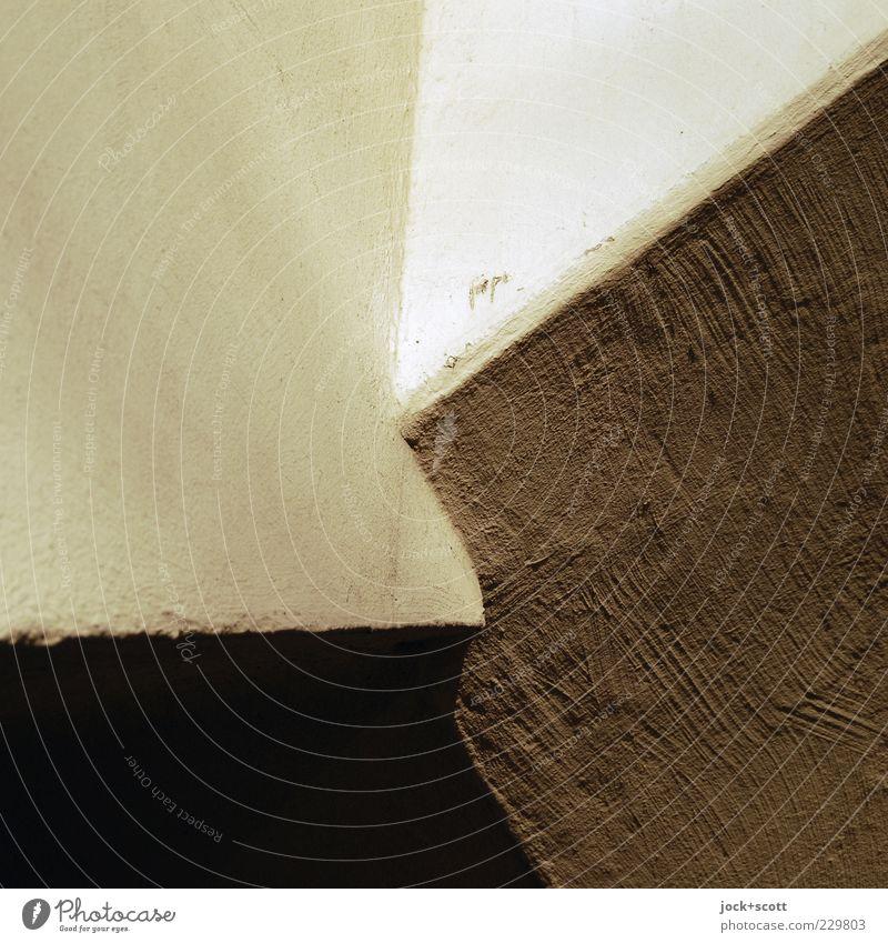 Ecklösung im Detail Wand Detailaufnahme eckig einfach Ordnungsliebe Reinheit skurril Putz Glätte Kratzer Ecke repariert Mörtel flach Putzfassade minimalistisch