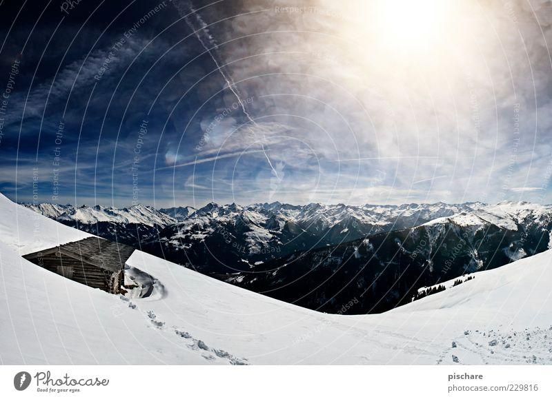 AUSTRIA! Himmel Natur schön Sonne Winter Ferne Schnee Umwelt Berge u. Gebirge Horizont Tourismus ästhetisch Alpen Unendlichkeit Schönes Wetter Hütte