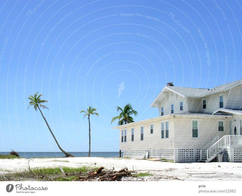 Strandhaus Wasser schön Himmel weiß Meer Strand Haus Erholung Sand Horizont Reisefotografie Idylle Palme Schönes Wetter Blauer Himmel