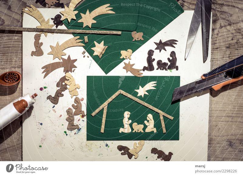 kreativ   Weihnachtskarten basteln Feste & Feiern Weihnachten & Advent Arbeitsplatz Basteln Bastelspaß Bastelmaterial Bastelmesser Papier Postkarte Schere Holz