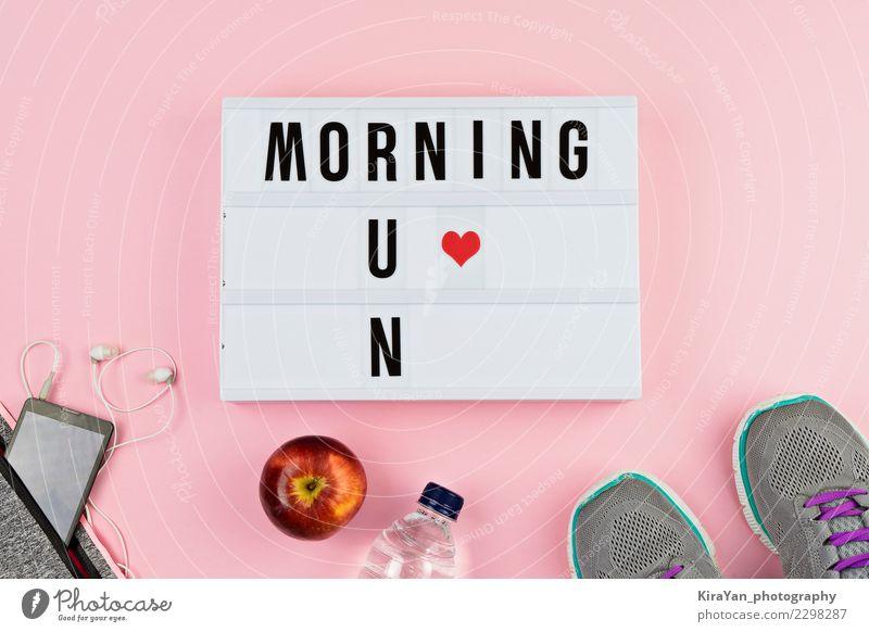 Lifestyle Gesundheit Frühling Sport rosa Freizeit & Hobby Schriftzeichen Schuhe Herz Energie Fitness Trinkwasser Telefon sportlich Apfel rennen