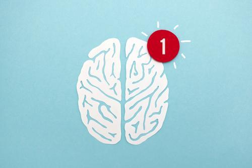 Gehirn aus Papier mit Symbol für neue Nachricht blau weiß sprechen außergewöhnlich Kopf Denken Kommunizieren lernen Idee Wandel & Veränderung Neugier