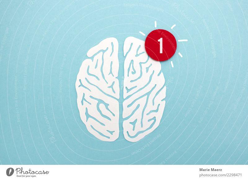 Gehirn aus Papier mit Symbol für neue Nachricht lernen sprechen PDA Kopf Gehirn u. Nerven Denken Kommunizieren außergewöhnlich Neugier blau weiß Weisheit