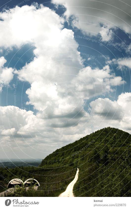 Turmberg Umwelt Natur Landschaft Pflanze Himmel Wolken Sonnenlicht Sommer Klima Schönes Wetter Baum Wald Hügel Gipfel Aichelberg Verkehrswege Personenverkehr