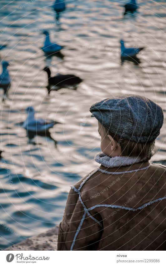 Vögel gucken Kind Mensch Natur blau Tier Erwachsene Umwelt Gefühle Bewegung Junge Schwimmen & Baden Stimmung fliegen maskulin frei Wildtier