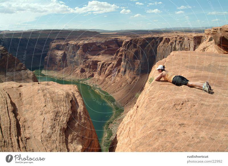 Abgrund Ferne Landschaft Berge u. Gebirge Horizont Felsen Tourismus Reisefotografie USA Höhenangst Am Rand Sehenswürdigkeit Tourist Schlucht Klippe Bekanntheit