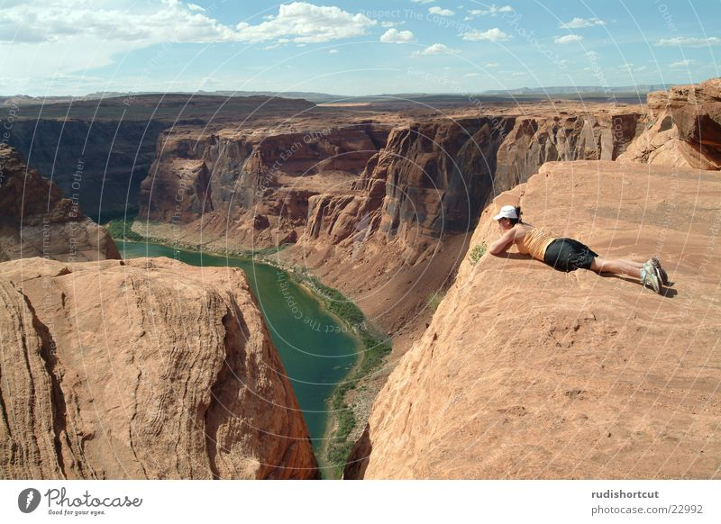 Abgrund Ferne Landschaft Berge u. Gebirge Horizont Felsen Tourismus Reisefotografie USA Höhenangst Am Rand Sehenswürdigkeit Tourist Schlucht Klippe Bekanntheit Arizona