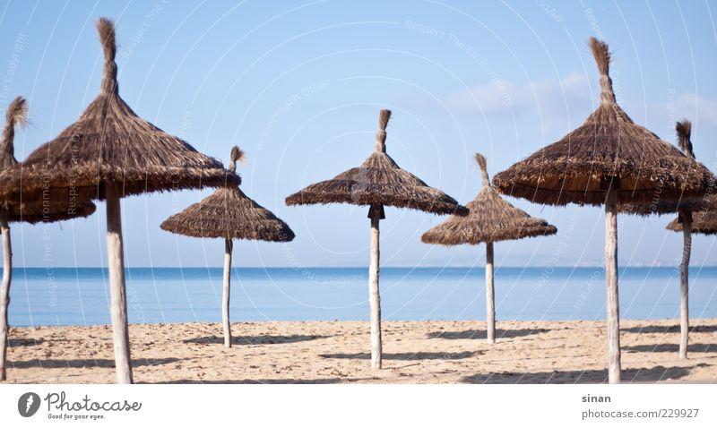 Die Ruhe vor dem Ansturm Lifestyle Sommer Strand Meer Insel Himmel Horizont Klima Sonnenschirm exotisch Fröhlichkeit hell natürlich schön blau braun mehrfarbig
