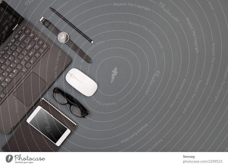 Arbeitsplatz des Geschäftsmannes Schreibtisch Tisch Arbeit & Erwerbstätigkeit Büro Industrie Business Telefon PDA Computer Notebook Bildschirm