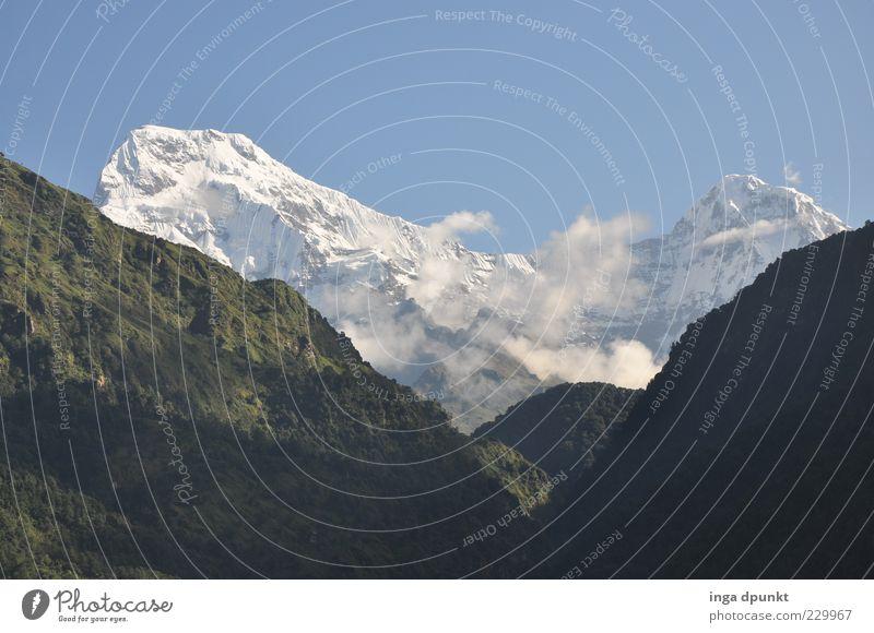 Fishtail Himmel Natur Ferne Wald Landschaft Freiheit Berge u. Gebirge Eis Felsen hoch groß Klima authentisch außergewöhnlich Frost Gipfel