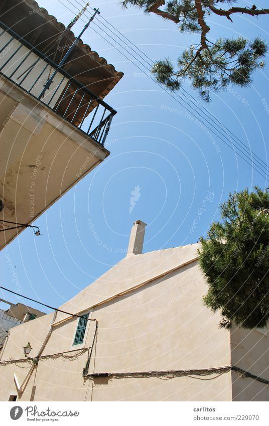 Porto Colom Wolkenloser Himmel Sommer Schönes Wetter Baum Kleinstadt Haus Mauer Wand Balkon Fenster Dachrinne alt authentisch Warmherzigkeit ästhetisch Pinie