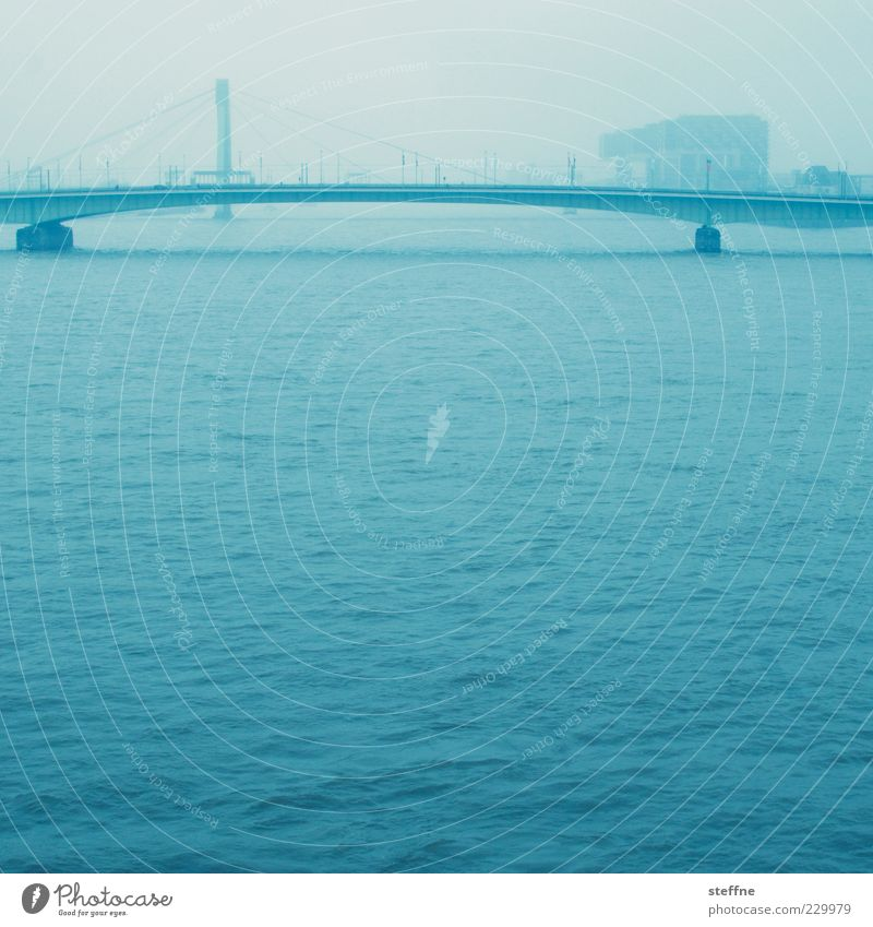 An der schönen blauen Donau Wasser blau Stadt Ferne Wellen Nebel Brücke Fluss Verkehrswege Köln Dunst Wasseroberfläche Rhein Köln-Deutz Deutzer Brücke