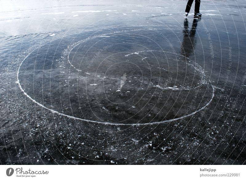 turntablerocker Mensch Winter Ferne Freiheit See Beine Fuß Eis Freizeit & Hobby Klima Ausflug stehen Kreis Lifestyle Frost Kurve