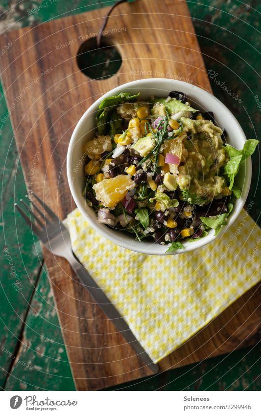 Bohnensalat Lebensmittel Salat Salatbeilage Orange Salatblatt Avocado Mais Ernährung Essen Abendessen Bioprodukte Vegetarische Ernährung Diät Fasten