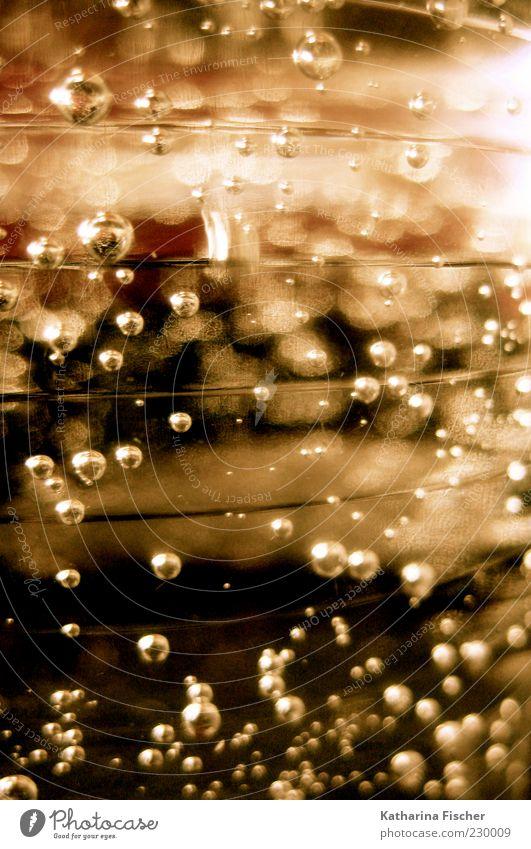 Bubbles Wasser weiß rot Lebensmittel Kunst braun gold Glas nass Wassertropfen Tropfen Flüssigkeit Blase Textfreiraum Luftblase