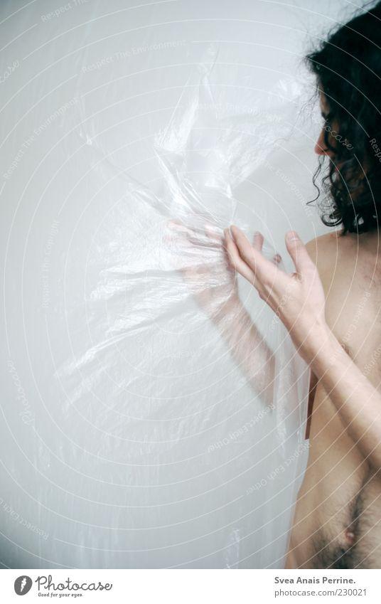 plastik. maskulin Körper Haut 1 Mensch 18-30 Jahre Jugendliche Erwachsene Haare & Frisuren langhaarig Locken beobachten festhalten dünn einzigartig verrückt