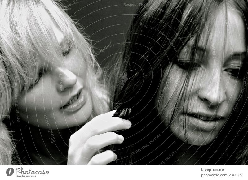 zweisam feminin Frau Erwachsene 2 Mensch 18-30 Jahre Jugendliche berühren entdecken Blick Zusammensein Neugier Einigkeit Sympathie Freundschaft Schwarzweißfoto