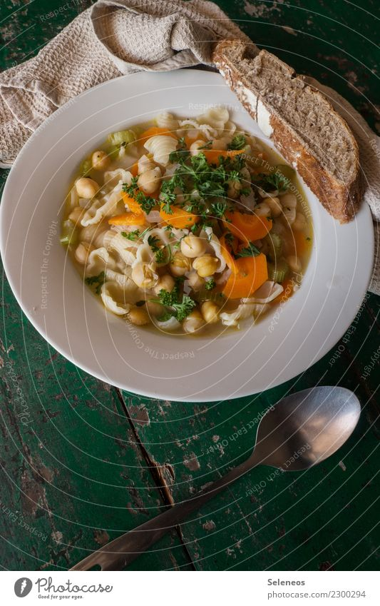 Gemüsesuppe Essen Gesundheit Ernährung frisch lecker Bioprodukte Brot Backwaren Abendessen Vegetarische Ernährung Mittagessen Nudeln Teigwaren Löffel Möhre