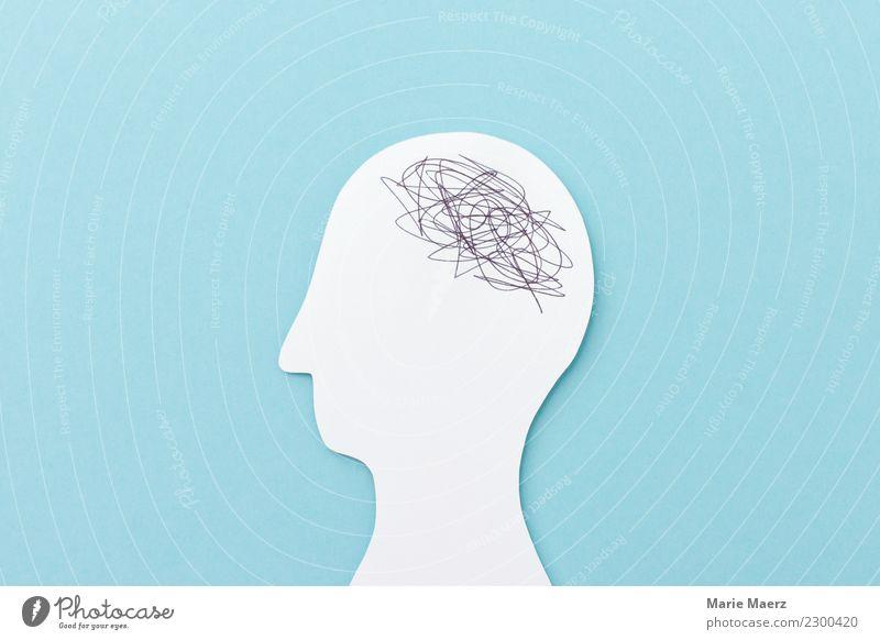 Chaos im Kopf - Kopf Silhouette aus Papier mit Kritzel Gehirn 1 Mensch Denken sprechen Kommunizieren einfach verrückt blau weiß Gefühle Unlust Erschöpfung