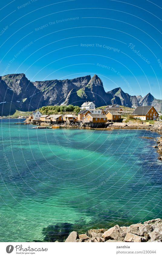 Lofoten blau Wasser Meer ruhig Erholung Landschaft Berge u. Gebirge Küste Idylle Dorf Bucht türkis Norwegen Wasseroberfläche Haus Blauer Himmel