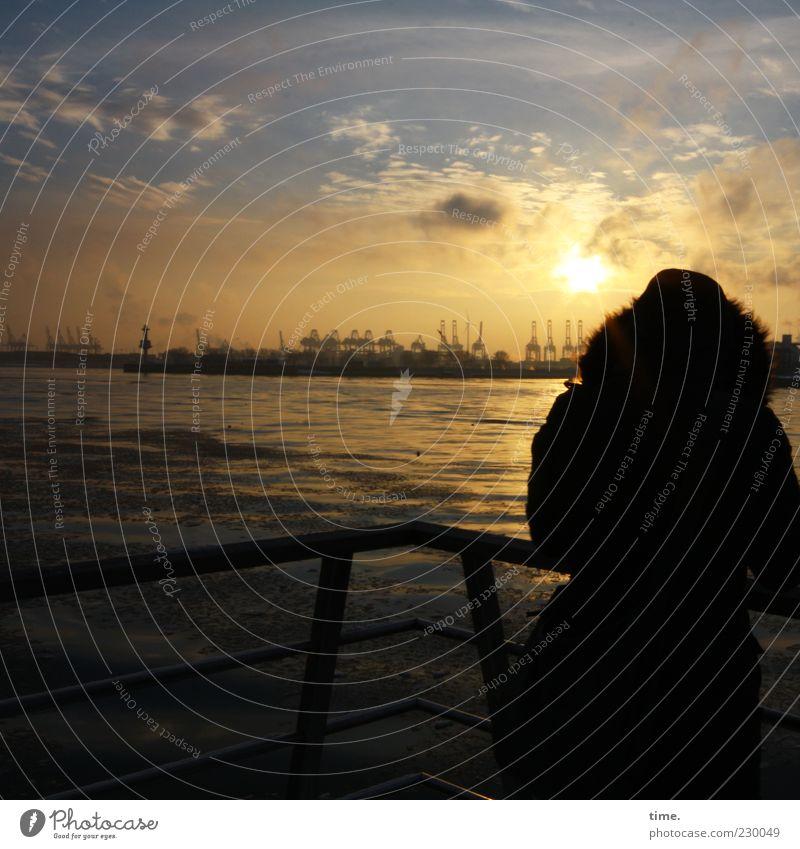 Hämborch, moine Pärle Frau Himmel Wasser Sonne Wolken Einsamkeit ruhig Erwachsene Stimmung Horizont Wellen Zufriedenheit Hamburg Industrie Romantik