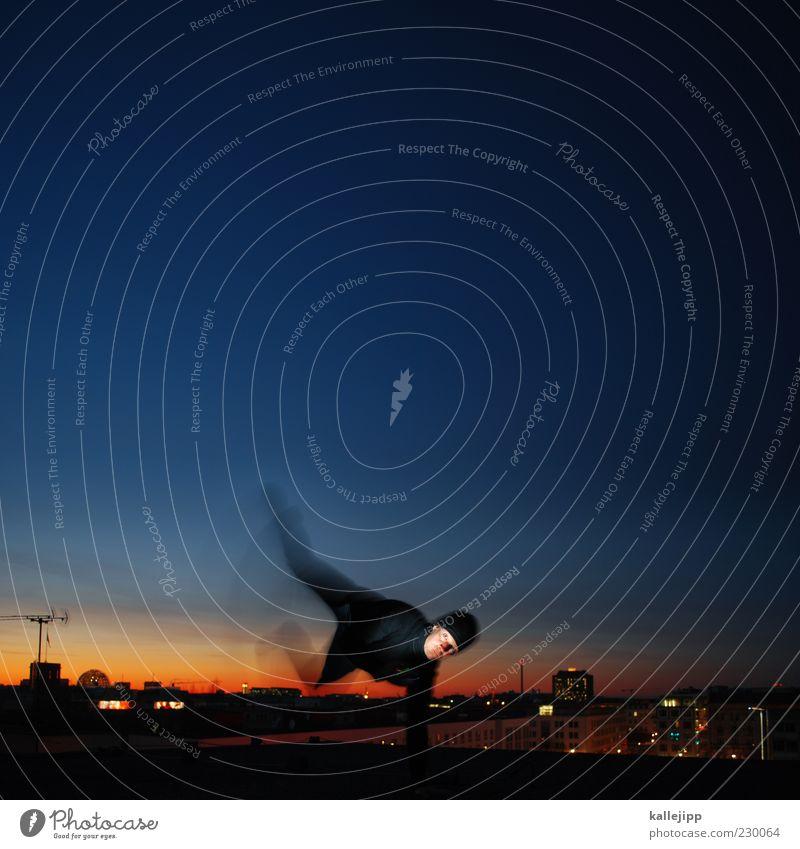 night on earth Mensch maskulin Mann Erwachsene Leben 1 Stadt Hauptstadt Skyline Jacke Mütze springen Licht Sonnenuntergang Antenne Le Parkour