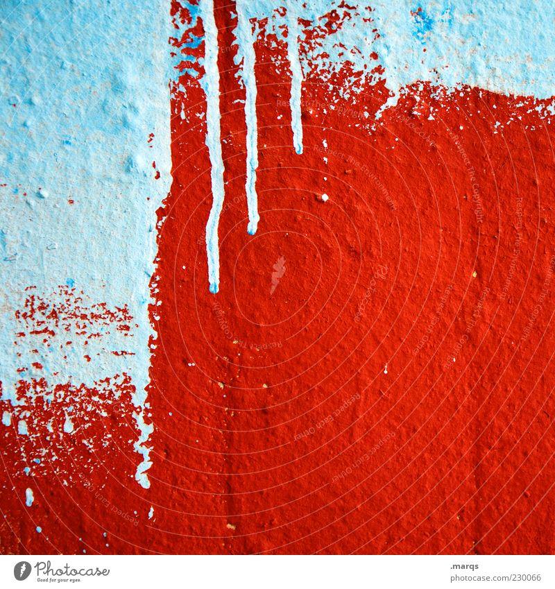 Rot blau weiß rot Farbe Wand Graffiti Stil Farbstoff Mauer Linie Hintergrundbild Fassade Beton Design wild verrückt