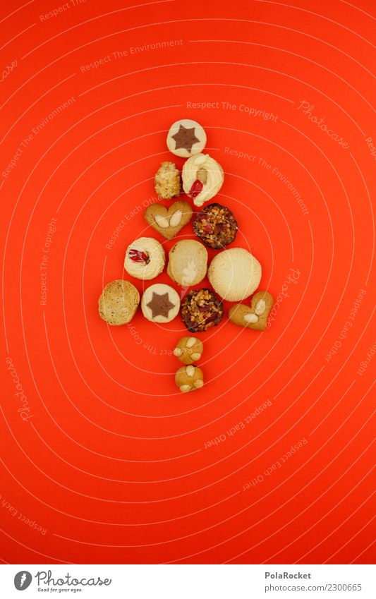 #A# Keksbaum Kunst Kunstwerk ästhetisch Weihnachten & Advent Anti-Weihnachten Baum gebastelt rot verrückt süß niedlich Dekoration & Verzierung Postkarte