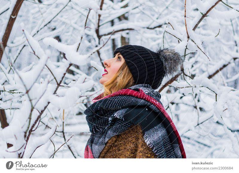 Schönes blondes Mädchen, gehend durch Winterwald Lifestyle Stil Freude Glück schön Haut Gesicht Schnee Frau Erwachsene 1 Mensch 18-30 Jahre Jugendliche Natur
