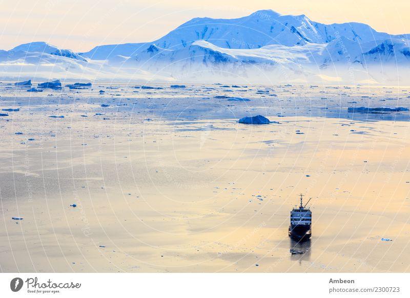 Luftuntergangsonnenoberfläche von Neco-Bucht umgeben durch Gletscher Himmel Natur Ferien & Urlaub & Reisen schön Wasser Landschaft Meer ruhig Winter