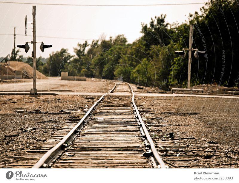 Natur grün Landschaft braun Eisenbahn Gleise Stadtrand