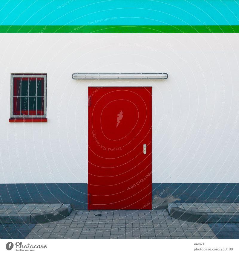 ganz konkret grün weiß rot Fenster Wand Architektur Stein Gebäude Mauer Metall Linie Tür Fassade Beton frisch