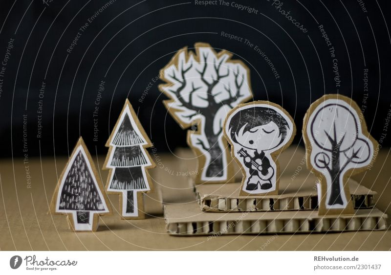 Pappland | Musiker Mensch Natur Jugendliche Baum Wald Lifestyle Umwelt Junge Spielen Freizeit & Hobby maskulin Kreativität genießen Idee Papier