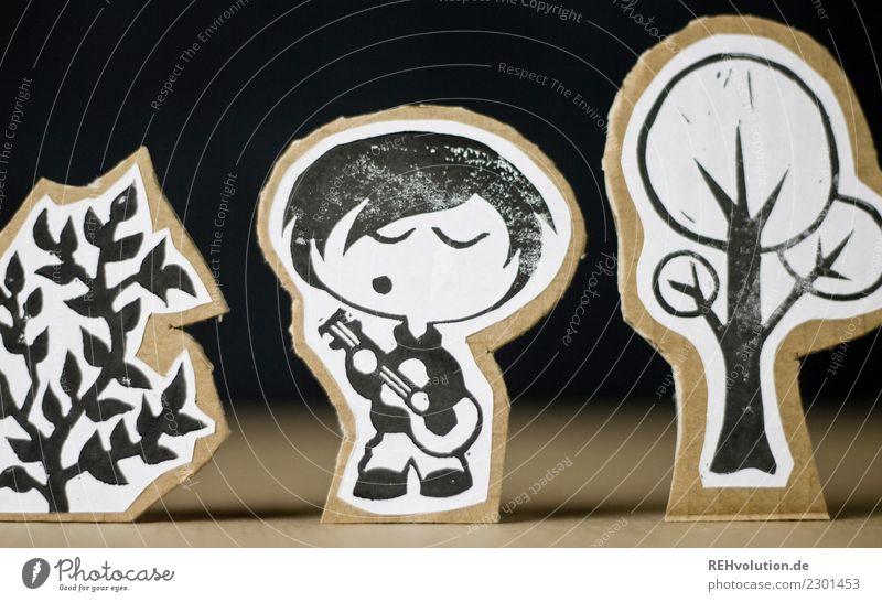 Pappland | Musiker Mensch Natur Jugendliche Mann Junger Mann Baum schwarz Erwachsene Umwelt Spielen außergewöhnlich braun Freizeit & Hobby maskulin Kreativität