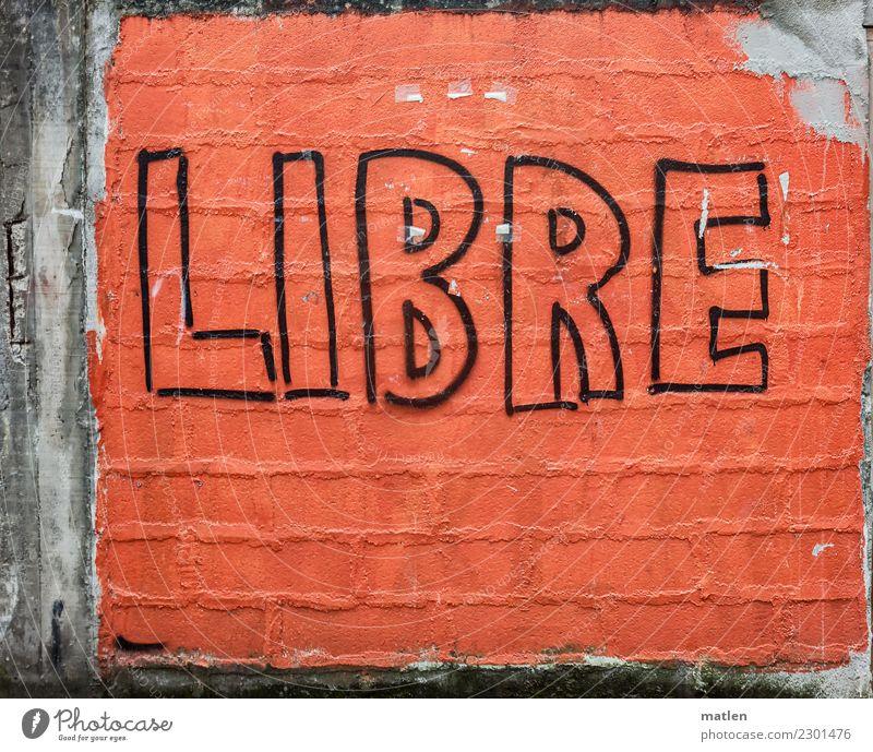 libre Dorf Menschenleer Mauer Wand Stadt grau orange schwarz Graffiti Baskenland grell Freiheit Farbfoto Außenaufnahme Muster Strukturen & Formen