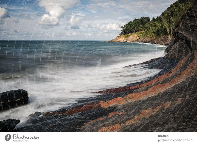 baskische Küste Himmel Sommer blau Pflanze grün Landschaft weiß Baum Meer rot Wolken Strand Berge u. Gebirge schwarz gelb