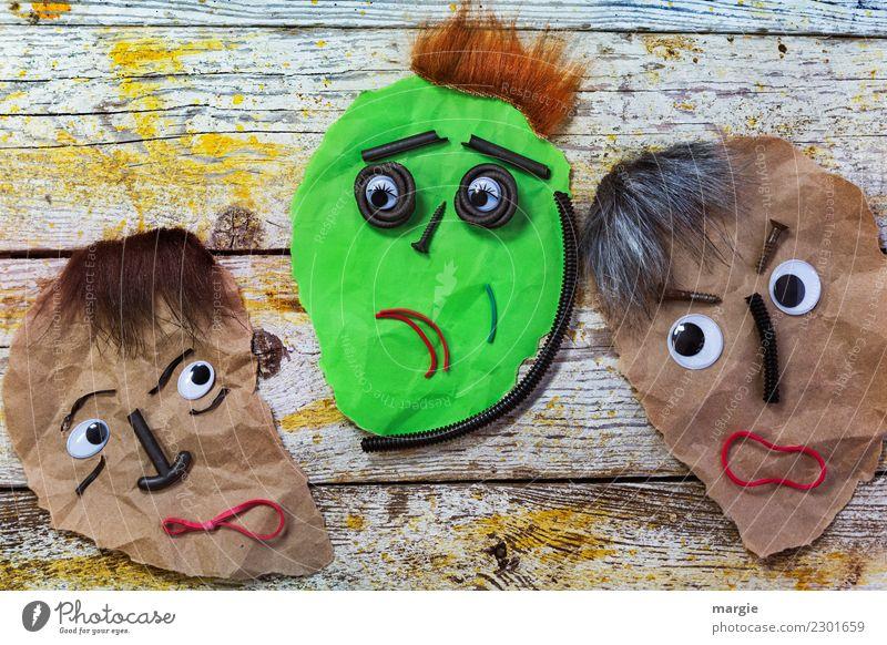 Emotionen...coole Gesichter: Am Aschermittwoch ist alles vorbei! Frau Mensch Mann grün rot Auge Erwachsene gelb feminin braun maskulin Mund Nase androgyn