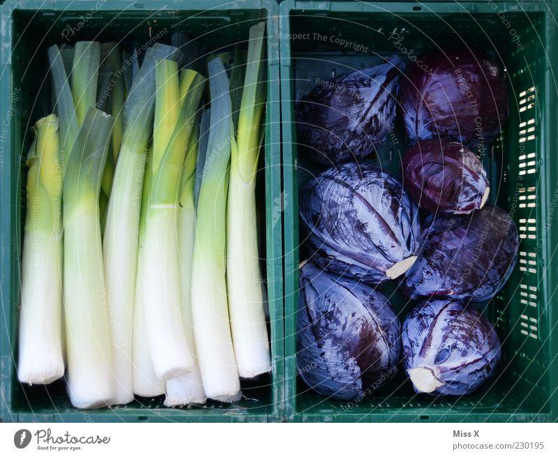 Grün und Blau blau grün Lebensmittel frisch Gemüse Markt Bioprodukte Kiste sortieren Ware Porree mehrfarbig Dinge Kohl Wochenmarkt Rotkohl