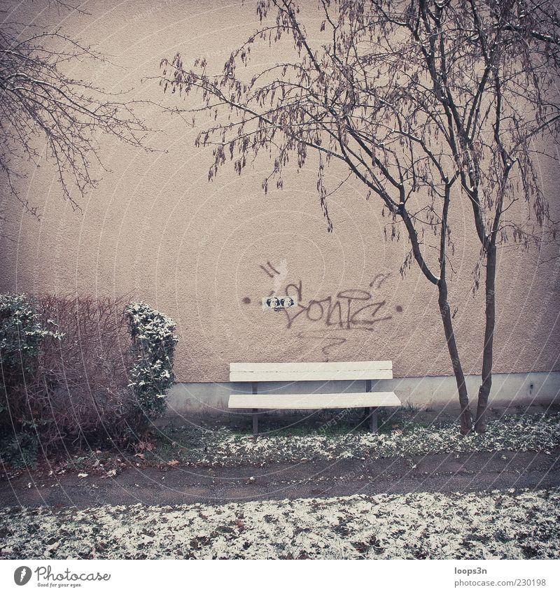 After Parties IV Umwelt Winter schlechtes Wetter Nebel Eis Frost Schnee Sträucher Menschenleer Haus Gebäude Mauer Wand Fassade Wege & Pfade Beton Graffiti
